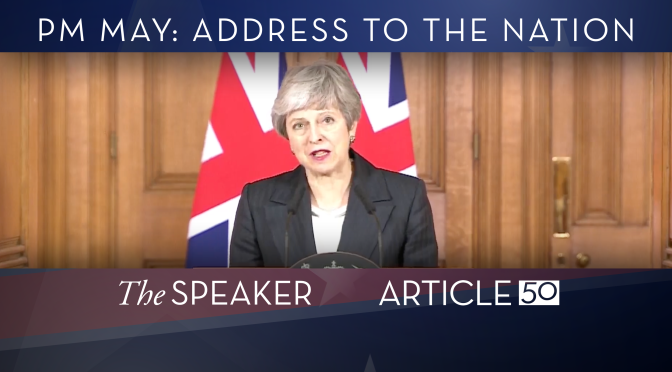 "WATCH: PM Theresa May tells the nation ""I'm on your side"" as she berates MPs over indecision"